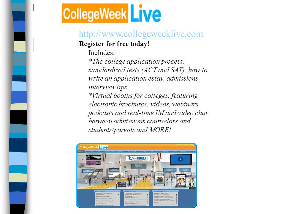 http://www.collegeweeklive.com Register for free today!