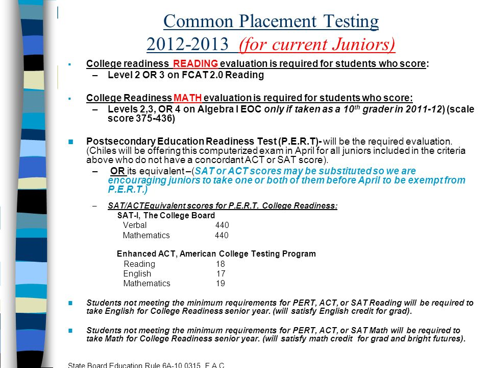 Common Placement Testing (for current Juniors)