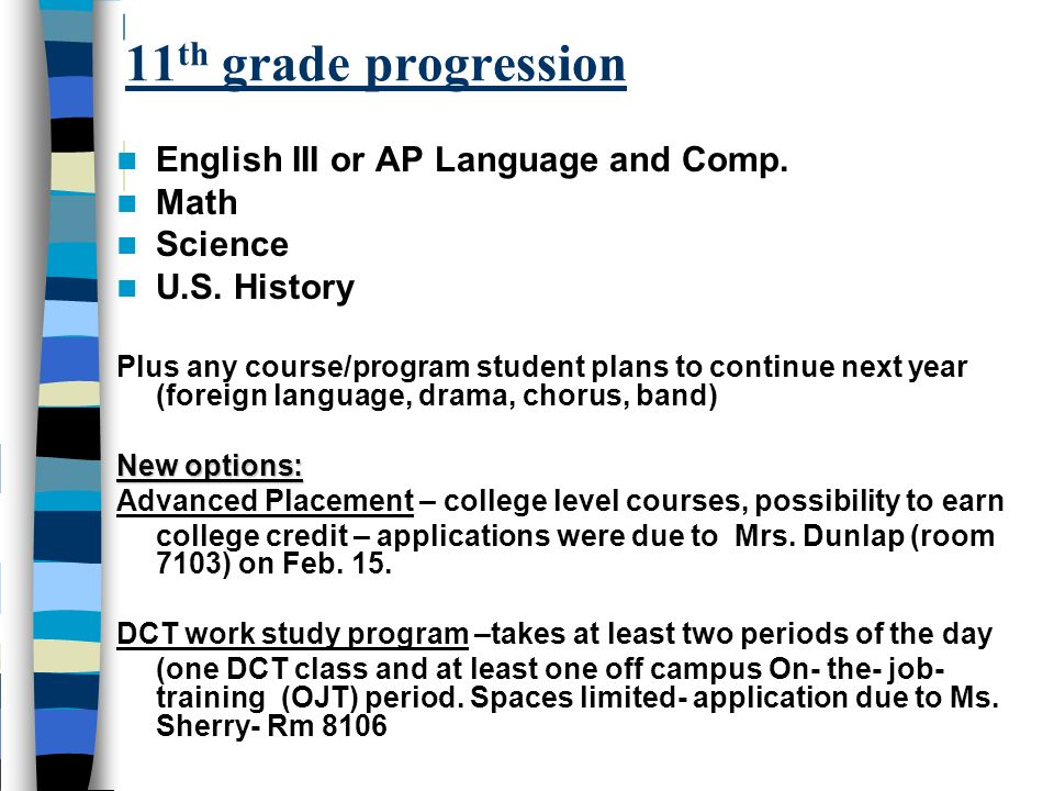 11th grade progression English III or AP Language and Comp. Math