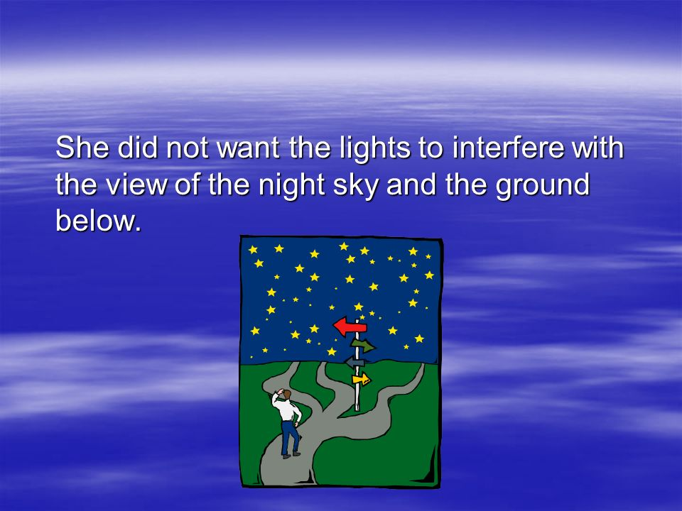 She did not want the lights to interfere with the view of the night sky and the ground below.