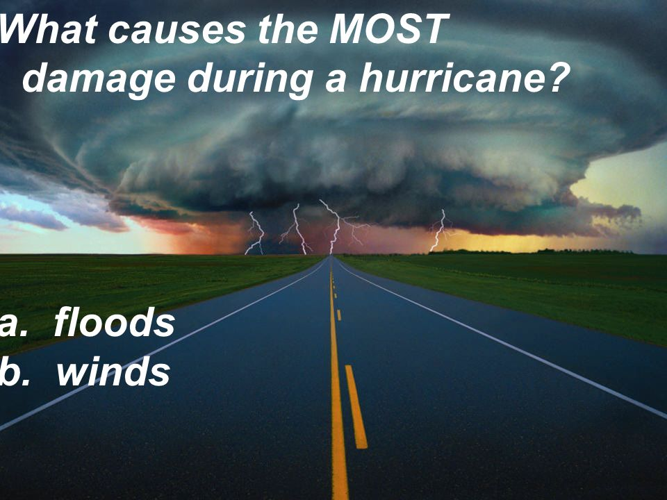 What causes the MOST damage during a hurricane