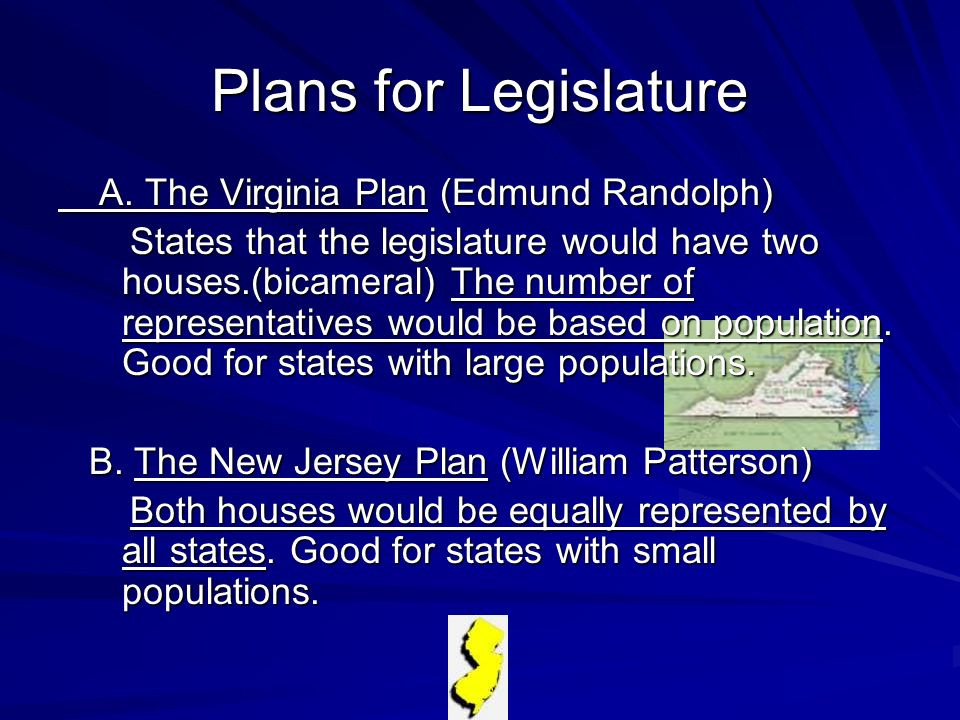 Plans for Legislature A. The Virginia Plan (Edmund Randolph)