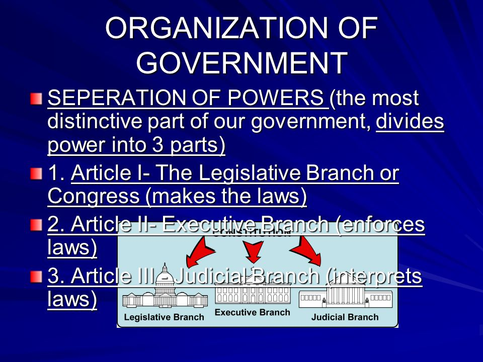 ORGANIZATION OF GOVERNMENT