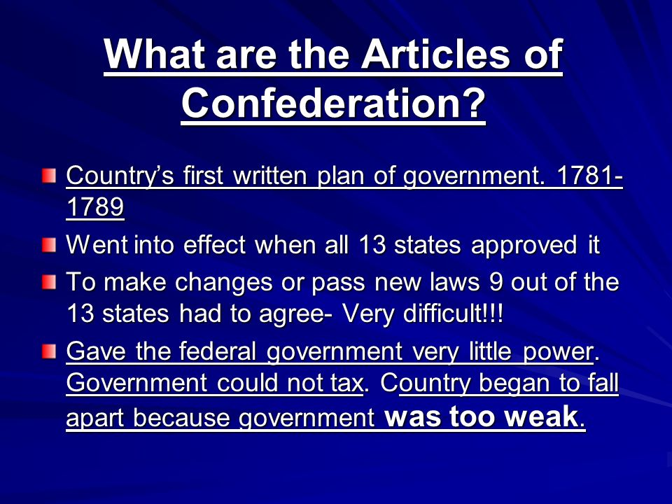 What are the Articles of Confederation