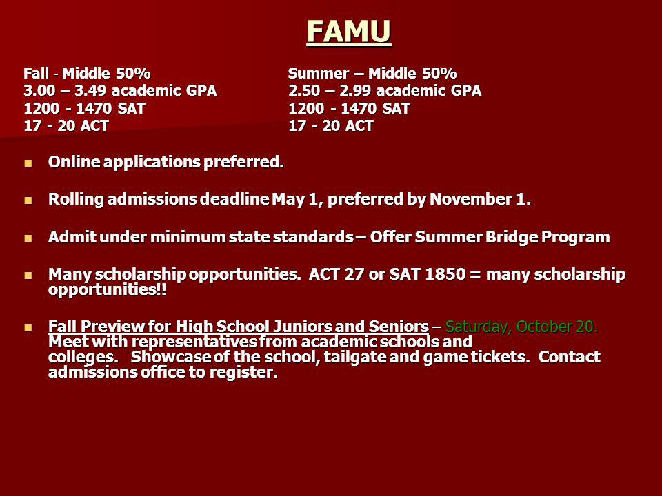 FAMU Online applications preferred.