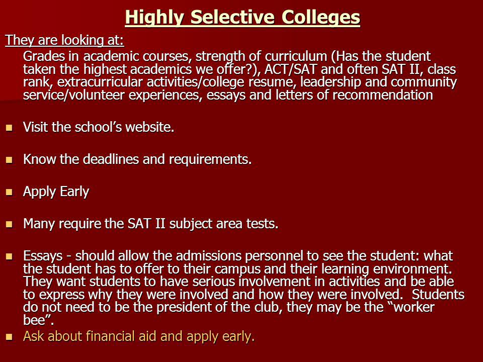 Highly Selective Colleges