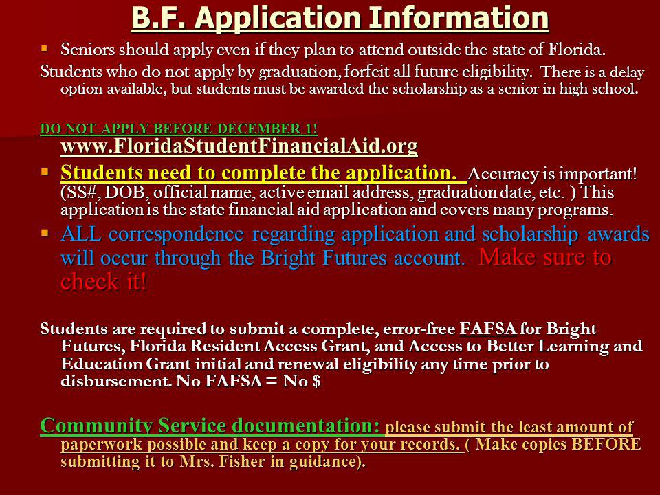 B.F. Application Information