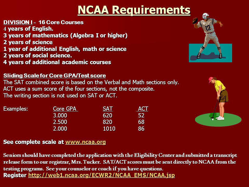 NCAA Requirements DIVISION I - 16 Core Courses 4 years of English.