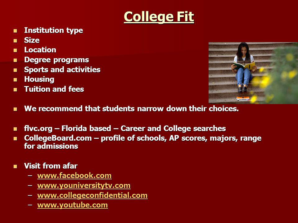 College Fit Institution type Size Location Degree programs