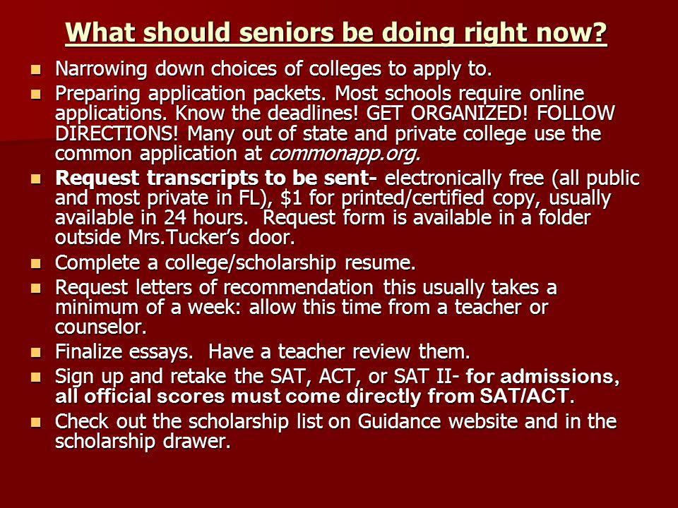What should seniors be doing right now