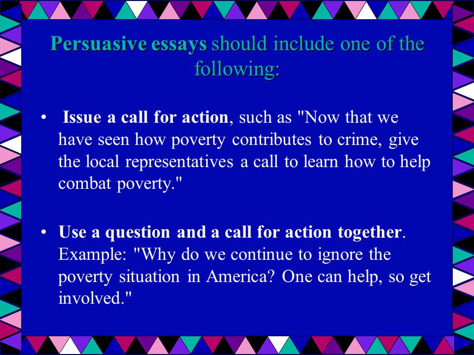 persuasive essay poverty Here given is a custom-written essay example on the topic of poverty and children in united states feel free to read this paper night and day.