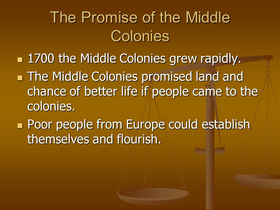 The Promise of the Middle Colonies