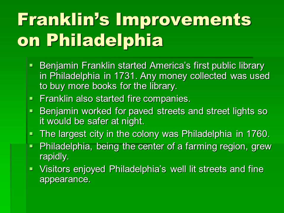 Franklin's Improvements on Philadelphia