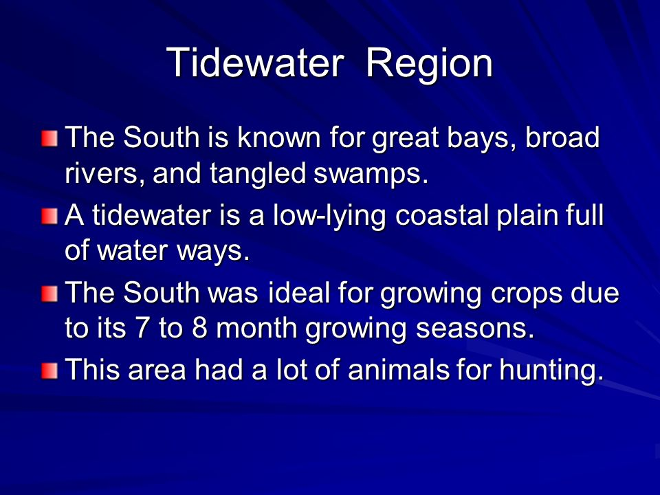 Tidewater RegionThe South is known for great bays, broad rivers, and tangled swamps. A tidewater is a low-lying coastal plain full of water ways.