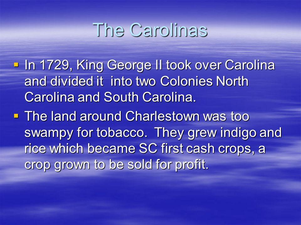 The CarolinasIn 1729, King George II took over Carolina and divided it into two Colonies North Carolina and South Carolina.