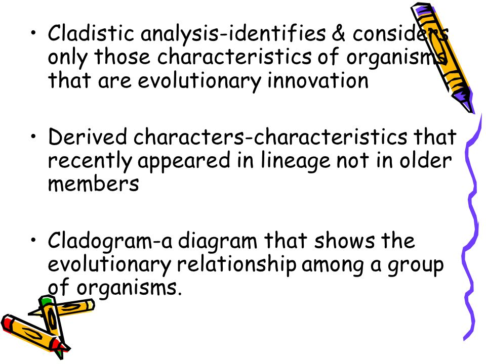 Cladistic analysis-identifies & considers only those characteristics of organisms that are evolutionary innovation