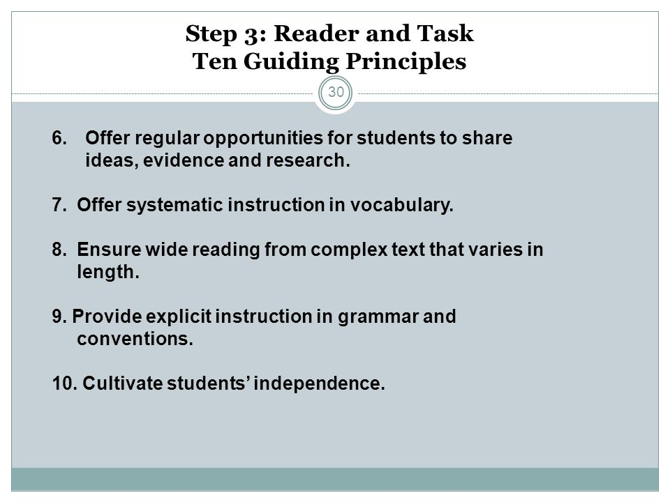 Step 3: Reader and Task Ten Guiding Principles