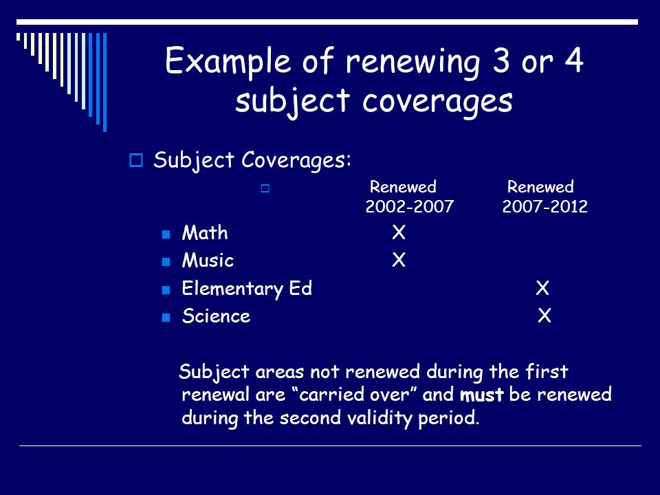 Example of renewing 3 or 4 subject coverages