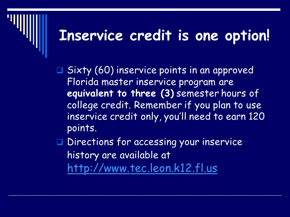 Inservice credit is one option!