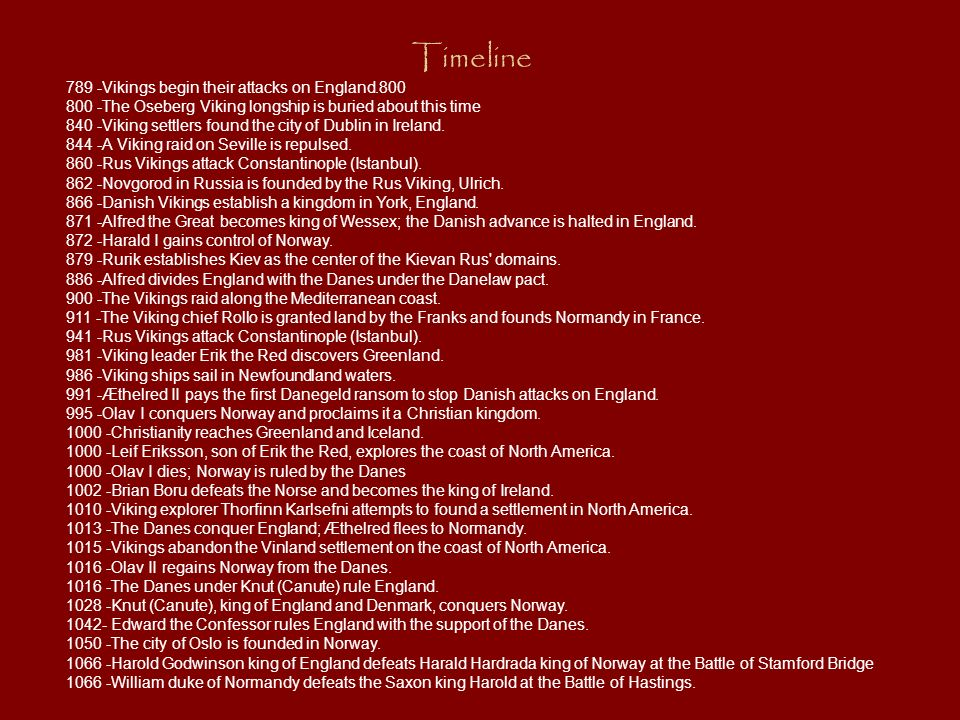 Timeline 789 -Vikings begin their attacks on England.800