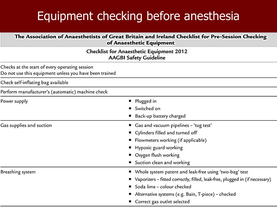 anzca guidelines checking anaesthetic machine