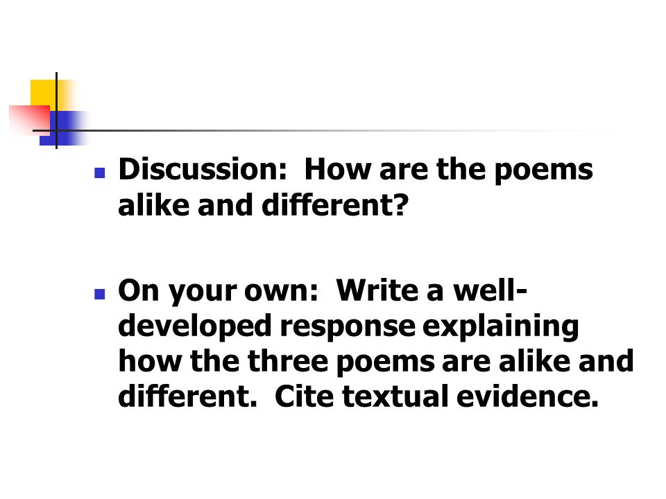 Discussion: How are the poems alike and different