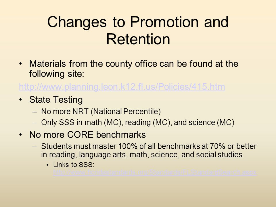 Changes to Promotion and Retention