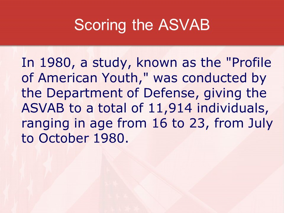 Scoring the ASVAB
