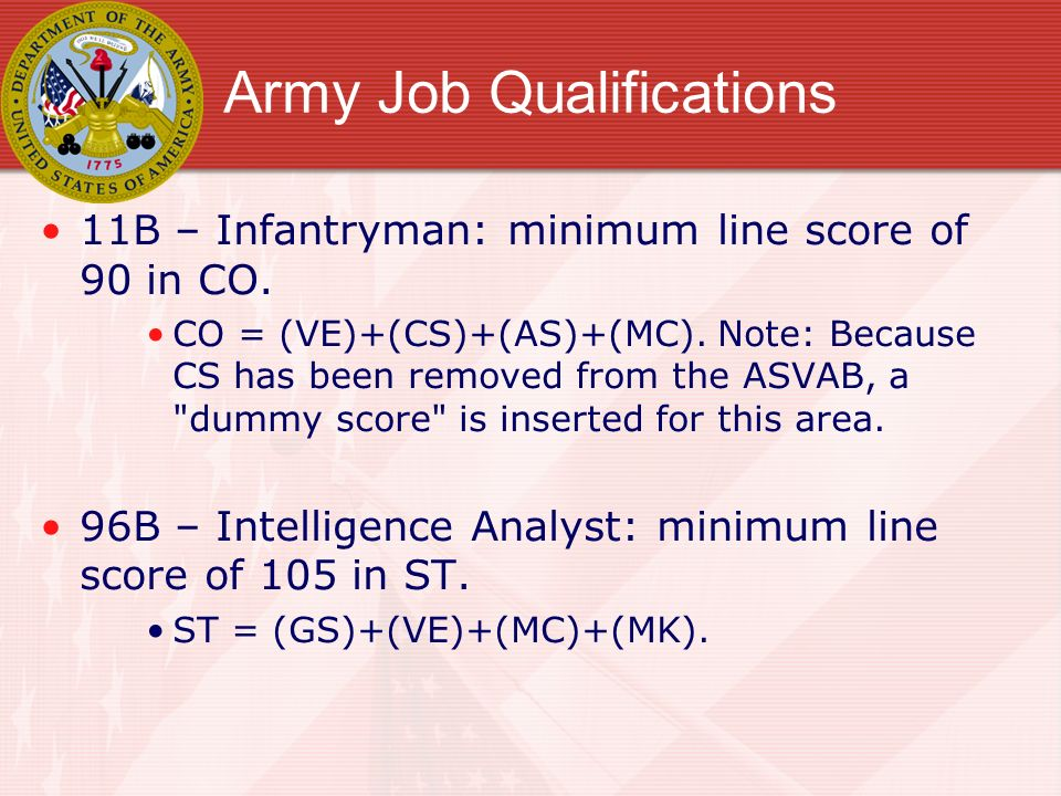 Army Job Qualifications