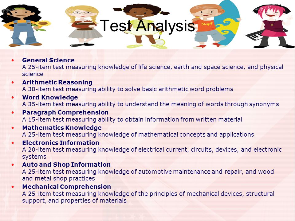 Test Analysis General Science A 25-item test measuring knowledge of life science, earth and space science, and physical science.