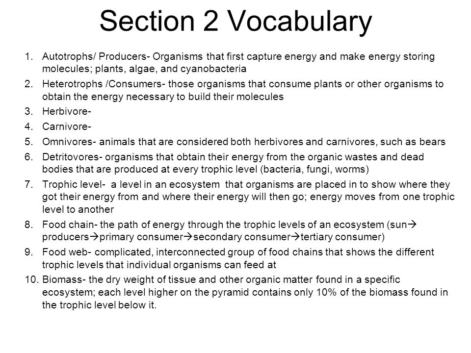 Section 2 Vocabulary Autotrophs/ Producers- Organisms that first capture energy and make energy storing molecules; plants, algae, and cyanobacteria.
