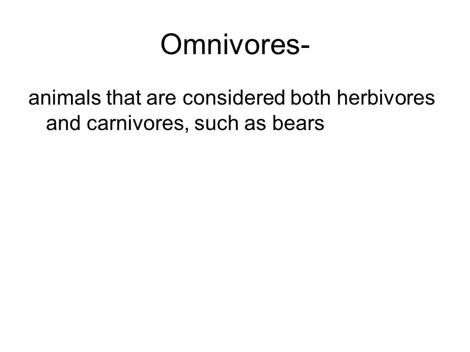 Omnivores- animals that are considered both herbivores and carnivores, such as bears