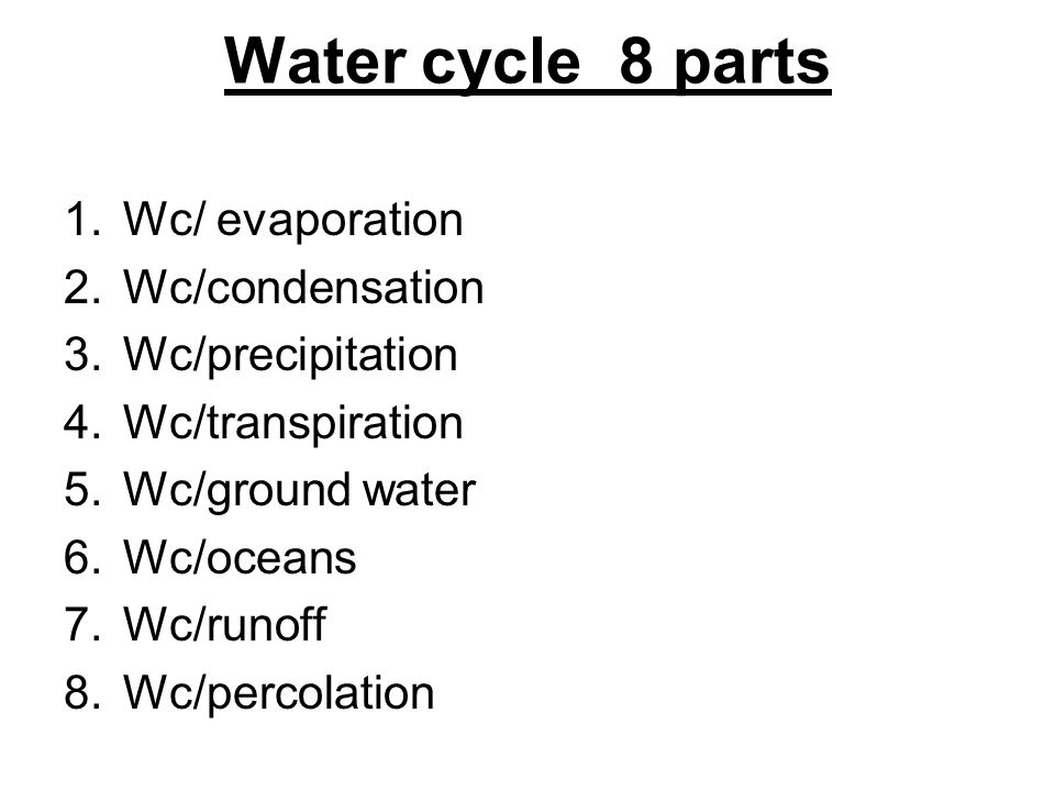Water cycle 8 parts Wc/ evaporation Wc/condensation Wc/precipitation