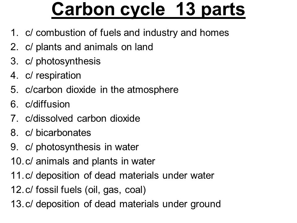 Carbon cycle 13 parts c/ combustion of fuels and industry and homes