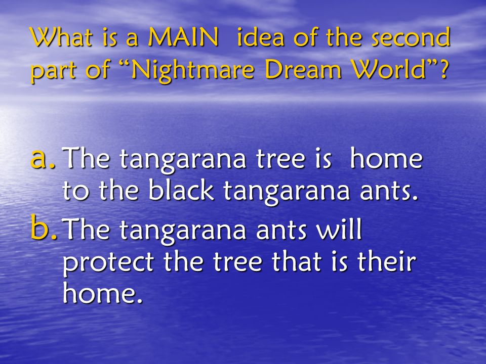 What is a MAIN idea of the second part of Nightmare Dream World