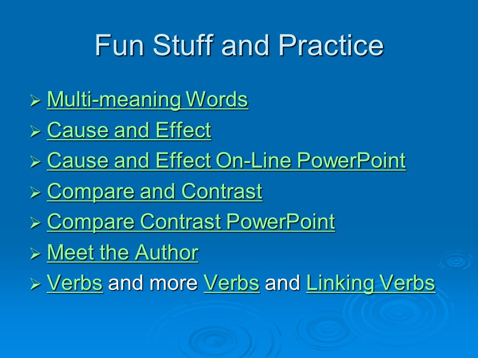 Fun Stuff and Practice Multi-meaning Words Cause and Effect