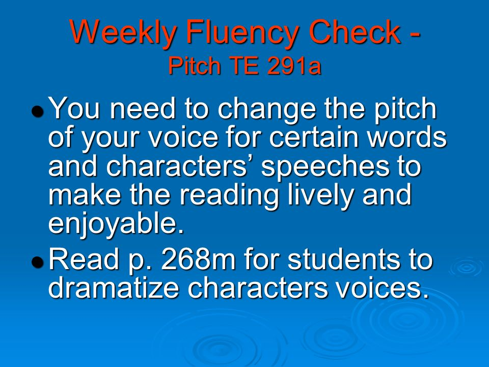 Weekly Fluency Check - Pitch TE 291a