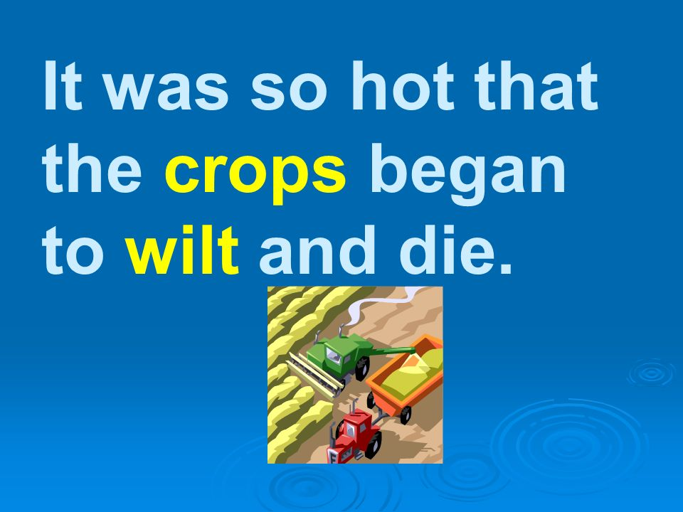 It was so hot that the crops began to wilt and die.