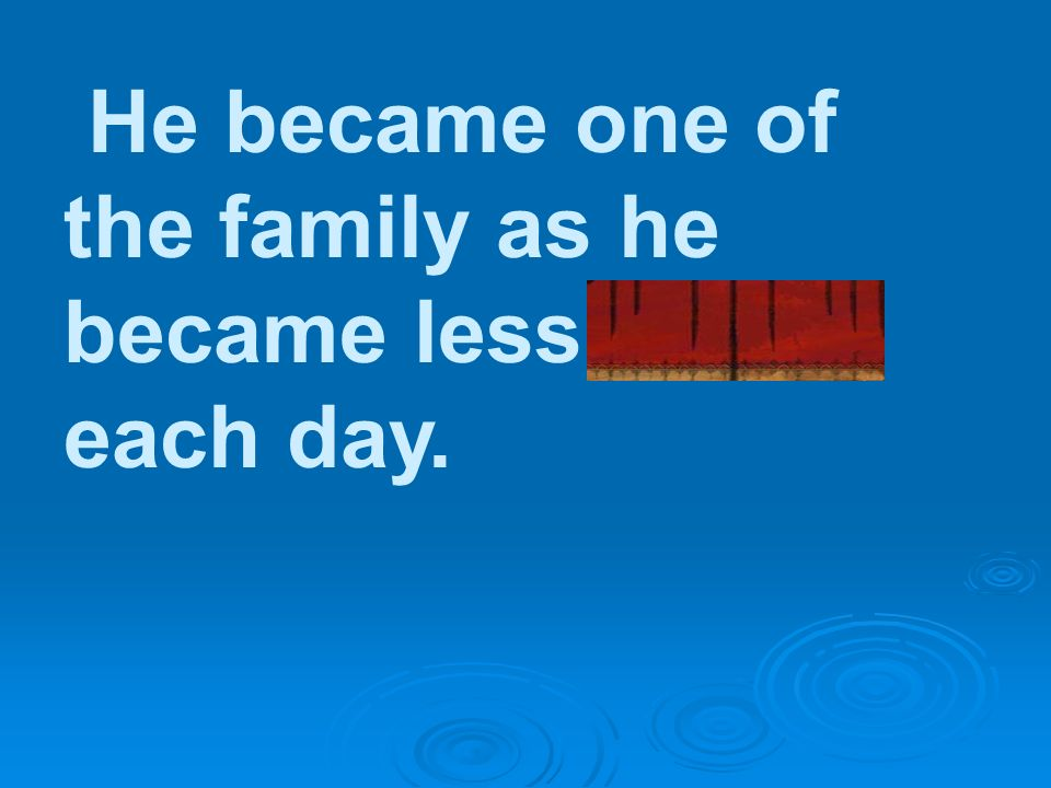 He became one of the family as he became less timid each day.