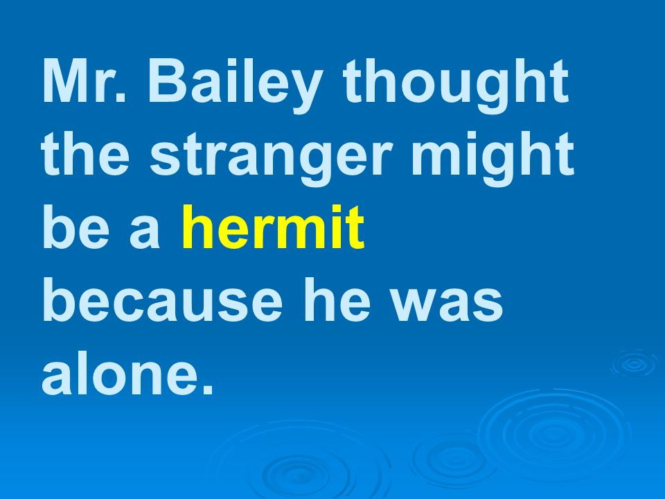 Mr. Bailey thought the stranger might be a hermit because he was alone.