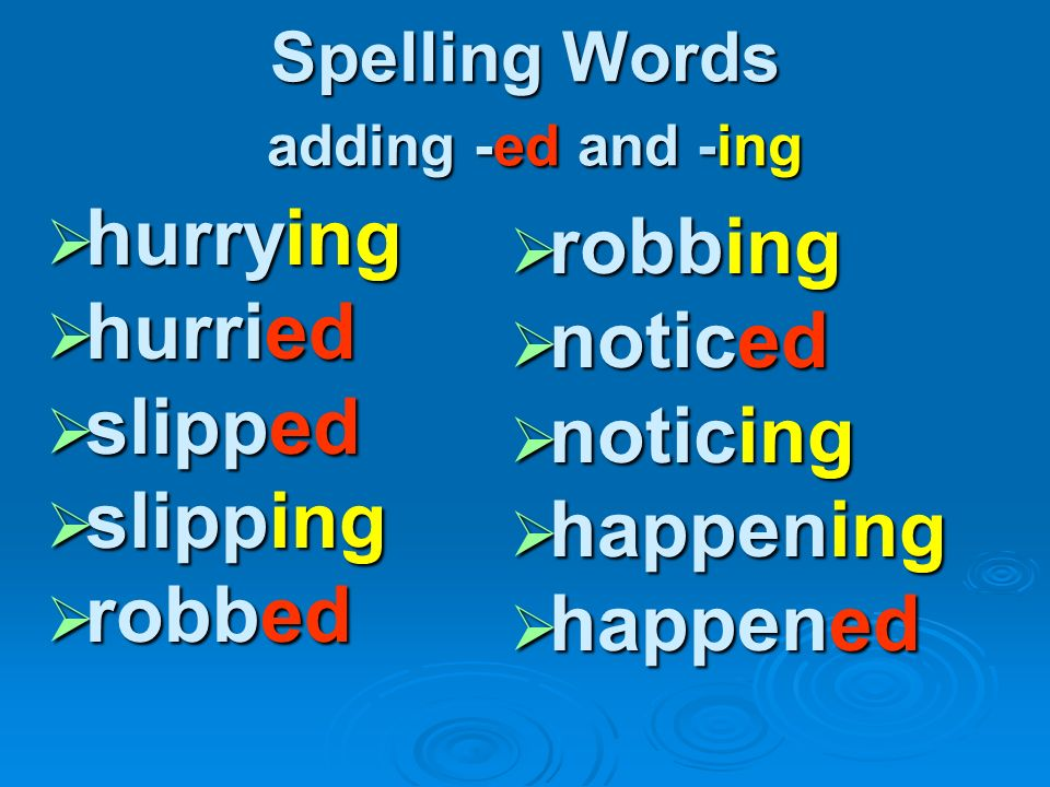 Spelling Words adding -ed and -ing
