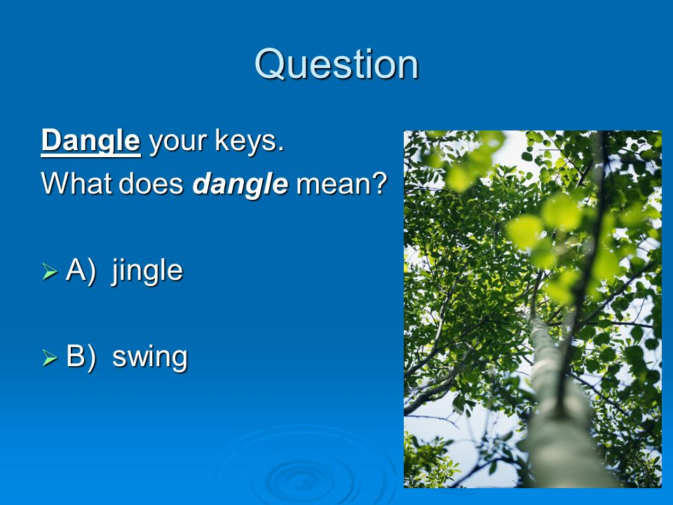 Question Dangle your keys. What does dangle mean A) jingle B) swing