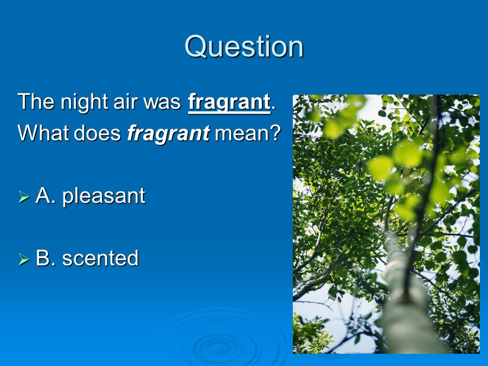Question The night air was fragrant. What does fragrant mean