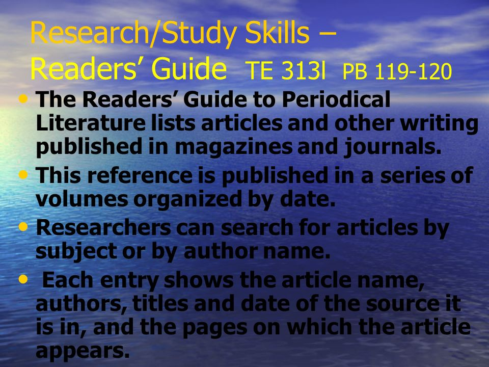 Research/Study Skills – Readers' Guide TE 313l PB