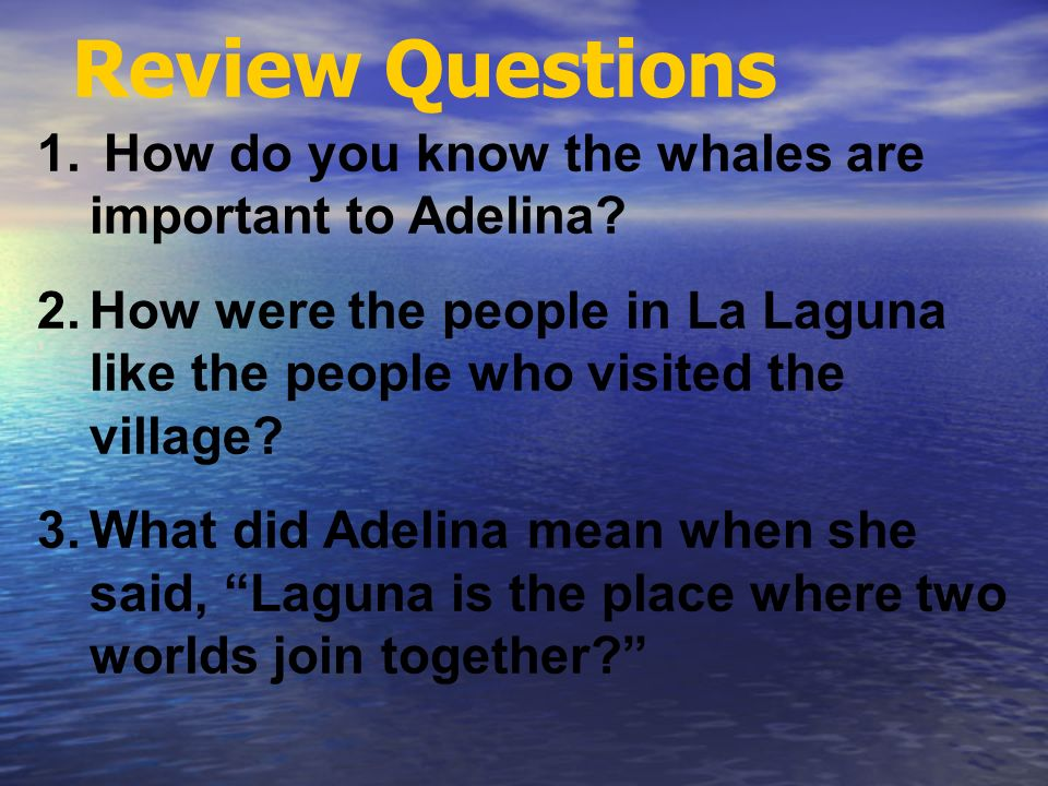Review Questions How do you know the whales are important to Adelina