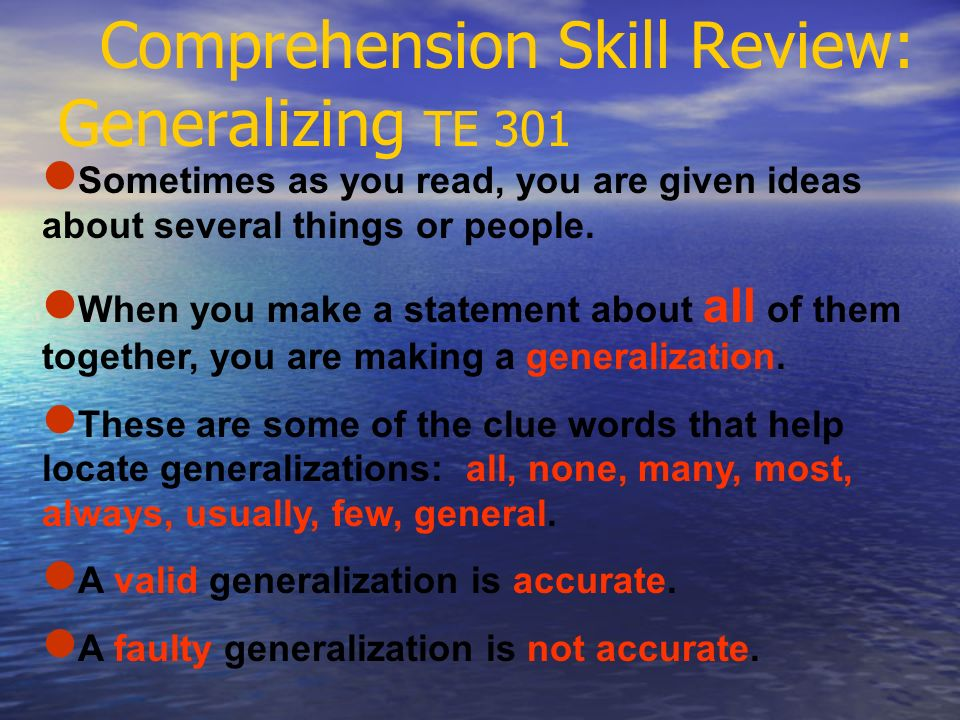 Comprehension Skill Review: Generalizing TE 301