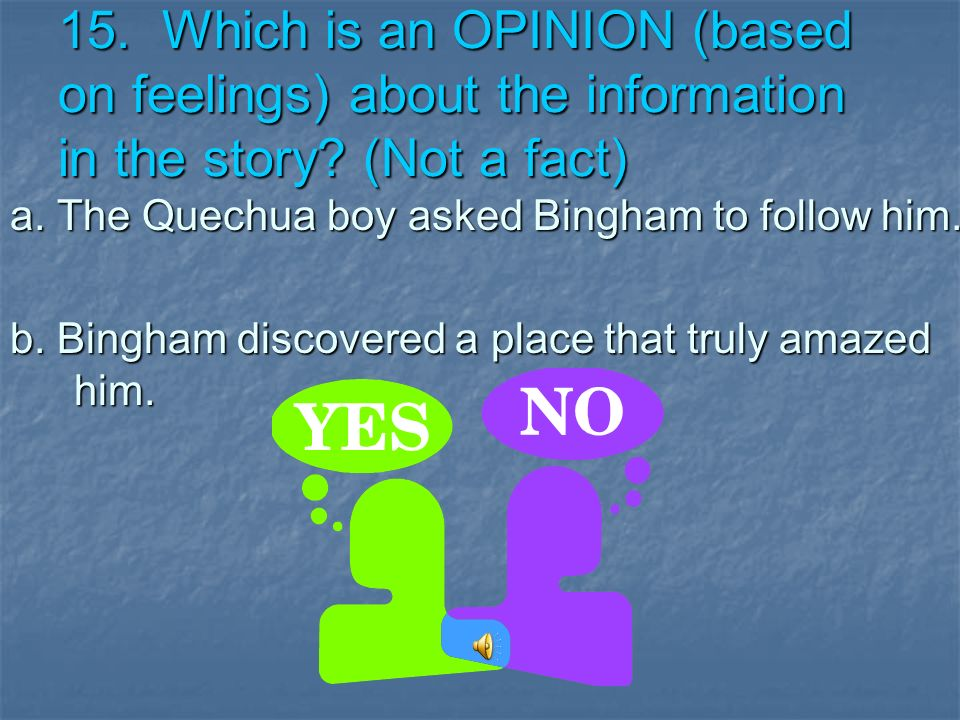 15. Which is an OPINION (based on feelings) about the information in the story (Not a fact)