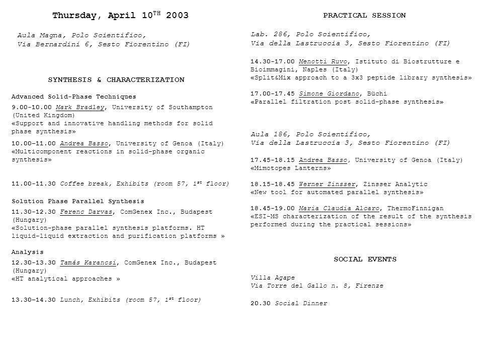 Thursday, April 10TH 2003 SOCIAL EVENTS