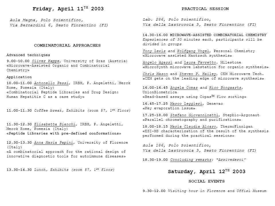 Friday, April 11TH 2003 Saturday, April 12TH 2003