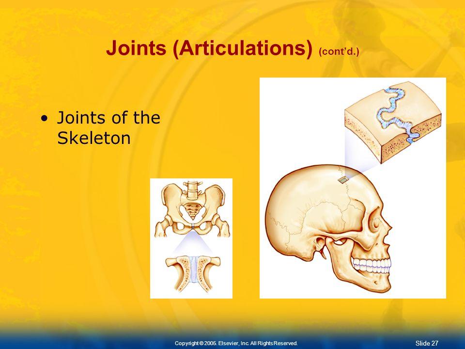 Joints (Articulations) (cont'd.)